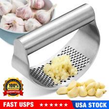 Garlic Press Stainless Steel Curved Garlic Masher Vegetable Chopper Manual USA
