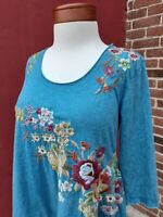 Johnny Was JWLA Michelle Boho Floral Embroidery Tunic Top Spring Blogger Rare