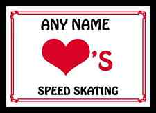 Love Heart Speed Skating Personalised Mousemat