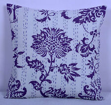 INDIAN FLORAL PRINT KANTHA CUSHION COVERS THROW ETHNIC DECORATIVE SOFA PILLOW