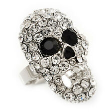 Skull Ring Black And Silver Crystal Diamante Gothic Gift
