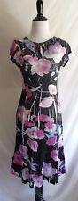 Komarov L Black Charmeuse Pink Artsy Flower Print Lace Trim Midi Party Dress