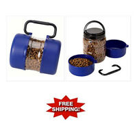 3pc PORTABLE Travel Pet FEEDER Container Set with HANDLE Dog Cat Food Bowl Dish