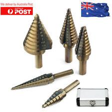 5Pcs HSS Aluminum Step Steel Step Cone Drill Titanium Hole Cutter Bit Set + Box