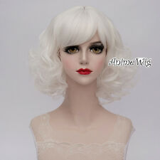 35CM Curly Fashion Women Party Cosplay Lolita Style White Short Full Wig