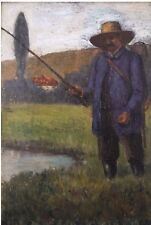 19th century Oil Painting - Man Fishing, Fisherman