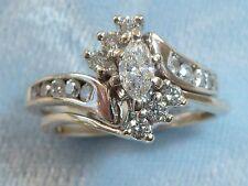 14K White Gold Wedding Set, 5X3mm Marquis, 16, 1.8mm Diamonds TCW .60, size 5.75
