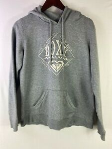 ROXY Size XL Mens Grey Casual Long Sleeves Hoodie Pullover Jacket Front Pockets