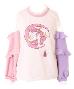 TS-225 Pink Purple Ruffle Sleeves Magic Unicorn Pastel Goth Long Sleeve Shirt