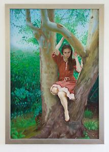 Original Framed Oil Painting Female Girl artwork woman in a Eucalyptus Tree