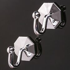 2 x SELF ADHESIVE SILVER CURTAIN TIE BACK Hooks Stick On Tassel/Rope/Cord Holder