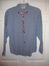 Susan Bristol blouse size 10 LS EUC button light denim with embroidery