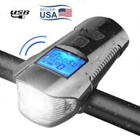 Bicycle Headlight Electric Horn Alarm USB Recharge Intelligent Display Screen