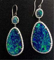 Trendy 925 Silver Opal Women Drop Earrings Jewelry Dangle Party Anniversary