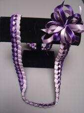 Hawaiian Braid Metalic Edge Ribbon Lei Purple & Orchid