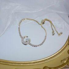 """White Crystal Star Moon Bangle .925 Sterling Silver Filled Bracelet 5"""" Adj. Sm."""