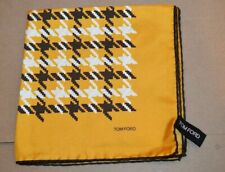 $165 NWOT TOM FORD Yellow w/black white houndstooth ck silk pocket square Italy