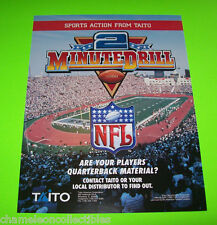 2 MINUTE DRILL FOOTBALL By TAITO ORIGINAL NOS ARCADE GAME MACHINE SALES FLYER