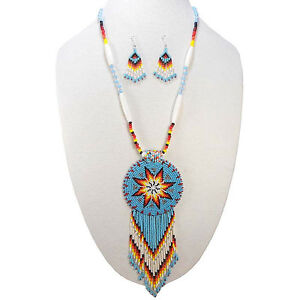 HANDCRAFTED TURQUOISE BLUE STAR BEADED LONG NECKLACE EARRINGS S51/1