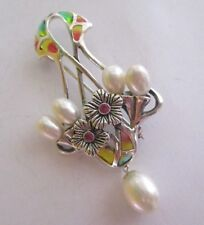 Solid Silver Art Nouveau Style Plique a Jour Enamel Brooch Pearls Rubies