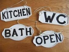 COLLECTION OF FOUR CHINA PORCELAIN HANGING DOOR SIGNS *OPEN, KITCHEN, W.C & BATH