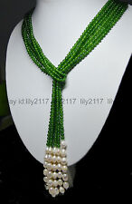 """Long Charming 50"""" 3 Strands 4mm Dark Green Emerald Bead & White Pearl Necklace"""