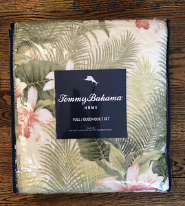 NEW! Tommy Bahama Topical Orchid Quilt Set Full/Queen GREEN YELLOW ORANGE