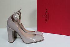 New sz 8 / 38 Valentino Nude Patent Leather Tan-Go Tango Ankle Strap Pump Shoes