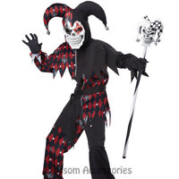 CK279 Sinister Jester Black Red Scary Boys Child Halloween Fancy Dress Costume