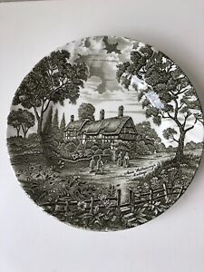 vintage Ridgway plate green cream Anne Hathaway's Cottage ceramic