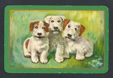 #150.206 vintage swap card -Fair- Terrier dogs with green border