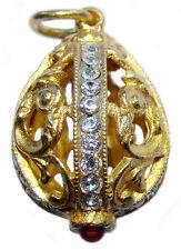 Pendentif Oeuf copie Fabergé Argent plaqué Or pendentif Oeuf copie Fabergé
