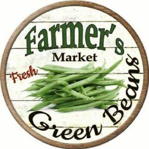 "FARMERS MARKET GREEN BEANS 12"" ROUND LIGHTWEIGHT METAL WALL SIGN DECOR RUSTIC"