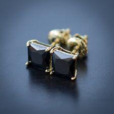 2Pc Men's Hip Hop Black Onyx Solitaire 14k Yellow Gold Screw Back Stud Earrings