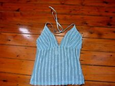 Ladies Stunning Dotti See Thru Blue Spagetti string top Size12