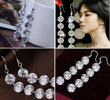 Elegant Lady Delicate Zirconia Crystal Silver Dangle Hook Earrings Jewelry EY