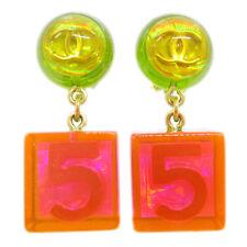 Chanel Cc Logos No.5 Shaking Pendientes Clip Tono Dorado 97P Rosa Verde 60356