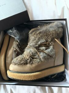 £295 PALOMA  BARCELO LEATHER WEDGE BOOTS REAL FUR PLATFORM WINTER SNOW SIZE 39