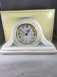 Laura Ashley Quartz Clock Parfums Ivory/Flower Gold Trim Mantle Battery Operated