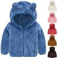 Kids Baby Girls Fleece Bear Ear Hooded Coat Hoodie Zipper Jacket Winter Outwear