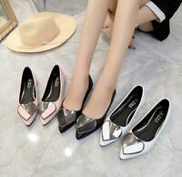 Ladies Pointed Toe Flats Metal Heart Slip On Loafer Casual Pumps Women Mary Jane