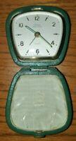 Vintage Linden Black Forest  Wind-up Travel Alarm Clock in Clamshell Case
