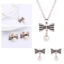 Gold Plated Pearl Pendant Necklace Earrings Set Chain Crystal Jewelry Fashion TL