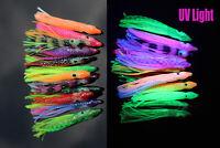 12 pcs 6cm UV Rubber Squid Skirts Soft Octopus Fishing Lures Tuna Sailfish Baits