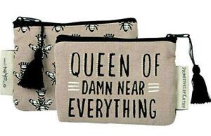 Primitives By Kathy Queen of Damn Near Everything Coin Purse Canvas Queen Bee