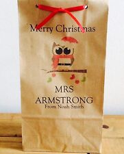 Personalised Block Bottom Paper Christmas Gift Bags Teacher/Presents/Xmas Eve