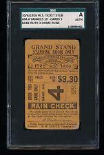 1926 WORLD SERIES TICKET Stub Game 4 BABE RUTH 3 HOME RUNS SGC A
