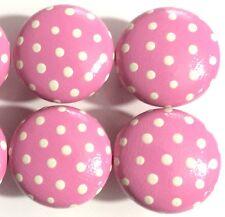 Lindo Pintado A Mano En Rosa Y Blanco Lunares 40mm Pino Cajones Perillas X 1