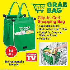AS SEEN ON TV GRAB BAG 2 PC SET  - EASY TO CARRY REUSABLE SHOPPING BAGS –aeo