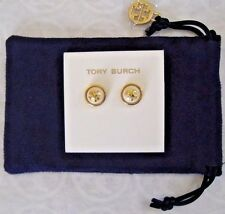 NWT Tory Burch Melodie Logo Ivory Shiny Brass Stud Earrings w Velvet Pouch